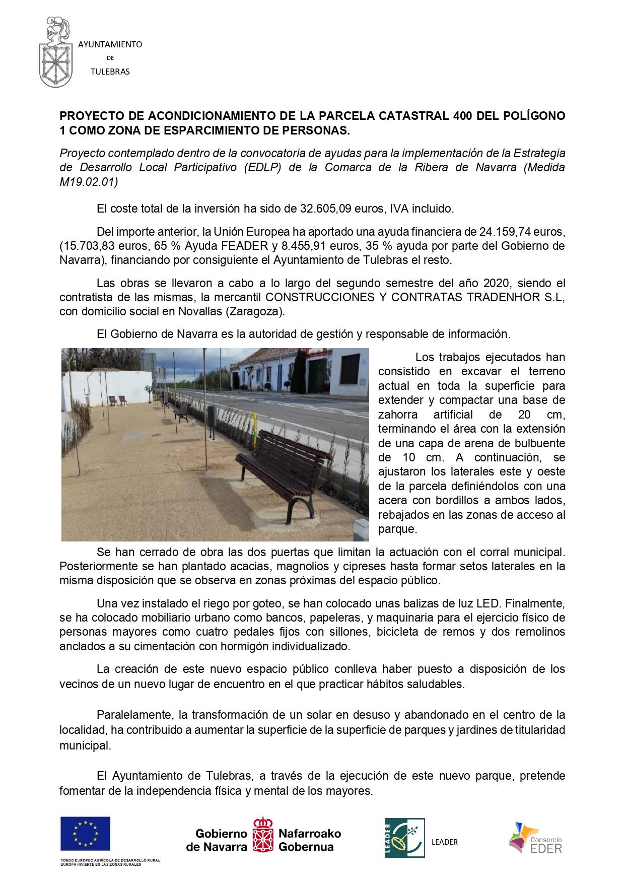 Proyecto Acondicionamiento parcela 400 del polígono 1 de Tulebras